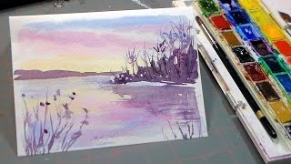 getlinkyoutube.com-Easy 3 Color Watercolor Sunset