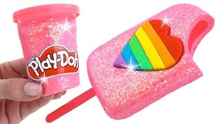getlinkyoutube.com-DIY How to Make Play Doh Sparkle Heart Popsicle Modelling Clay Learn Colors RainbowLearning
