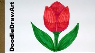getlinkyoutube.com-Drawing: How To Draw Cartoon Tulip Flower - Easy Drawing Lesson for Kids