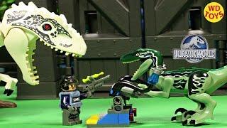 getlinkyoutube.com-New Lego Jurassic World Velociraptor Blue Trap (Knockoff) Indominus Rex Vs T-Rex Unboxing