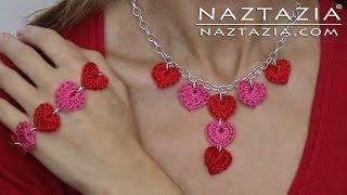 getlinkyoutube.com-DIY Learn How to Crochet Jewelry - Heart Necklace Bracelet - Hearts Necklaces Bracelets Jewellry