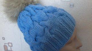 getlinkyoutube.com-Вязание шапки с объемными  косами на спицах.Knitted hat with braids volume on the spokes.