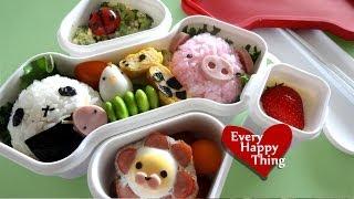getlinkyoutube.com-(*´ー`*) Zoo Bento Box ★ どうぶつさん大集合弁当 [キャラ弁/Lunch Box]