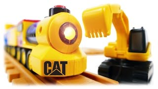 getlinkyoutube.com-TRAINS FOR CHILDREN VIDEO: Preschool Express Train CAT with Excavator & Truck Toys Review