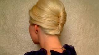getlinkyoutube.com-French twist hairstyle tutorial for short, medium long hair Prom wedding updo