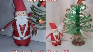 getlinkyoutube.com-How to make Santa Claus with plastic bottle /Christmas decoration /PLASTIC BOTTLE AND FOAM SANTA