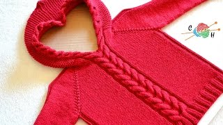 getlinkyoutube.com-How to Knit Horseshoe Cable Pullover Part 1