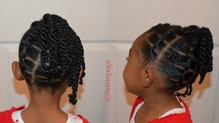 getlinkyoutube.com-KIDS NATURAL HAIRSTYLES: The Rubber Band And Twists Up-Do