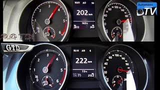 getlinkyoutube.com-2014 Golf 7 GTD vs. Golf 7 2.0 TDI - 0-224 km/h acceleration (1080p)