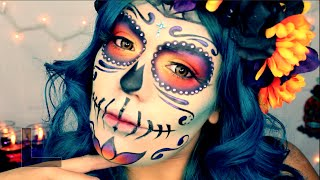 "getlinkyoutube.com-""Day Of The Dead"" Mexican Sugar Skull Makeup Tutorial Halloween 