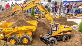 BIG RC excavator ACTION in 1/8 scale! Caterpillar! Atlas! Liebherr!