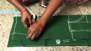 getlinkyoutube.com-Blouse cutting with measurements in telugu