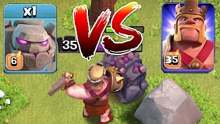 getlinkyoutube.com-Clash Of Clans 😀 LVL 6 GOLEM Vs. Mr. KING!! 🔸 Death battle🔸