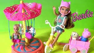 getlinkyoutube.com-Time to Play with Barbie Chelsea Doll Carousel Swing playset by Funtoyscollector