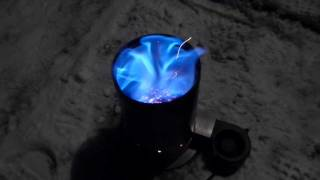 getlinkyoutube.com-Camping Wood Gasification Stove Test 1