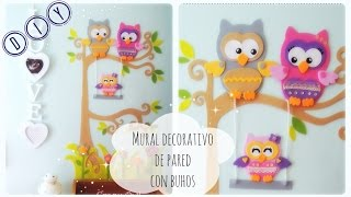 getlinkyoutube.com-DIY  Mural BUHOS GOMA EVA  .  Owl family Foamy