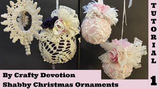 getlinkyoutube.com-Shabby Ornament 1, Pink Bauble. Christmas Shabby Chic Tutorial, no sew, crafts by Crafty Devotion