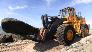 Volvo L330D Wheelloader Moving Massive Boulders On The Beach
