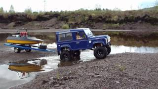 getlinkyoutube.com-RC TRAIL CUSTOM BOAT TRAILER PULLED BY RC4WD DEFENDER D90