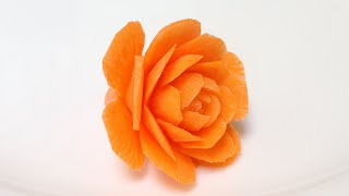 getlinkyoutube.com-Carrot Small Cactus Rose Flowers - Advanced Lesson 31 - By Mutita Art Of Fruit Vegetable Carving Tut