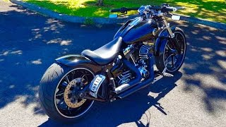 getlinkyoutube.com-Harley Davidson FXSB Breakout Custom V&H Sound Shotgun Shocks (Brandon from Hawaii)