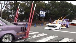 getlinkyoutube.com-【オートトレンド2014】 街道レーサー 竹ヤリ コール 箱乗り 旧車 シャコタン 車高短 Lowered Lowcar exhaust