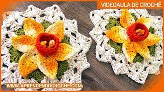 getlinkyoutube.com-Flor de Crochê Narciso - Aprendendo Croche
