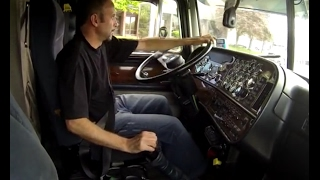 getlinkyoutube.com-Shifting and jakebraking giant Peterbilt tractor trailer -inside cab view