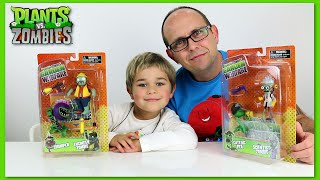 getlinkyoutube.com-Plants VS Zombies - Scientist, Chomper, Pea and Engineer Zombie Toy Review