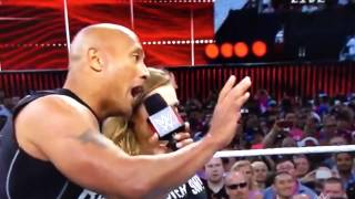 Ronda Rousey and the Rock wrestlemania