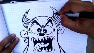 getlinkyoutube.com-How to draw a Devil cartoon -  graffiti character