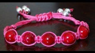 getlinkyoutube.com-How to make adjustable square knot bracelet with beads