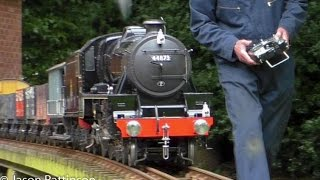 Radio Controlled 5 inch Gauge Ex-LMS Black 5 44873 Hauling Freight Train - RC Live Steam Locomotive