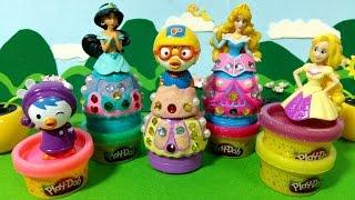 getlinkyoutube.com-디즈니 공주님들과 뽀로로의 공주옷 만들기 Play-Doh Princess 장난감 플레이도우 Pororo Toys