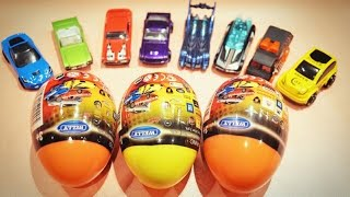 getlinkyoutube.com-Surprise Eggs Cars Welly Kinder Toys Unboxing