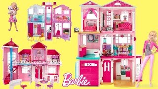 Barbie Dreamhouse 2017 - 6 Barbie Dollhouse Unboxing Review Baribe Dolls Full house Tour
