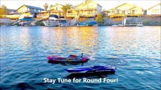 getlinkyoutube.com-NEW Traxxas Catamaran M41 FPV vs Traxxas Spartan Boat Drag Race!