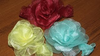 getlinkyoutube.com-Розы из ткани органза в стиле канзаши