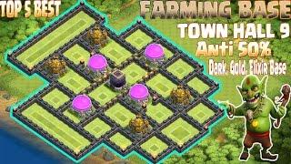 getlinkyoutube.com-Coc Th9 TOP 5 Farming Base 2016, 2017. Town Hall 9 Anti 50% Gold, Dark, Elixir Base Clash Of Clans