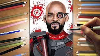 Speed Drawing: Deadshot - Will Smith in Suicide Squad | Jasmina Susak