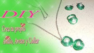 getlinkyoutube.com-♥Manualidades.. ✂ DIY crea tus anillo, aretes y collar con alambre♥
