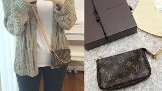 getlinkyoutube.com-Louis Vuitton Mini Pochette Review,Monogram,What fits in?  +Corss strap