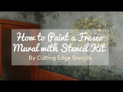 How to Stencil a Faux Fresco Mural with Stencil Kit by Cutting Edge Stencils. DIY decor ideas.