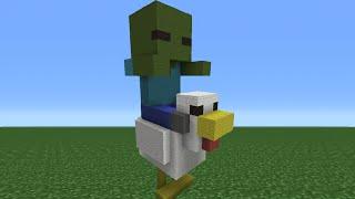Minecraft Tutorial: How To Make a Chicken Jockey Statue