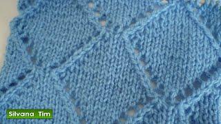 Cómo tejer punto ROMBOS CALADOS. Tejido con dos agujas # 402