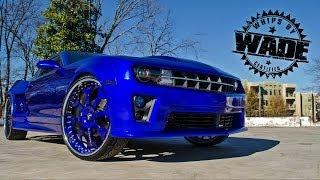 "getlinkyoutube.com-YoundBlood Kreations : Colbalt Blue Widebody Camaro on 26"" Forgiatos www.WhipsByWade.com"