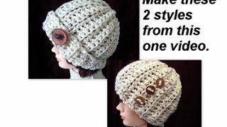 getlinkyoutube.com-CROCHET A RIBBED HAT, 2 STYLES, accessories, clothing, unisex, beanie, winter, chunky style,