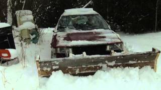 getlinkyoutube.com-Homemade Wooden Snow Plow on a Toyota Corolla 4x4