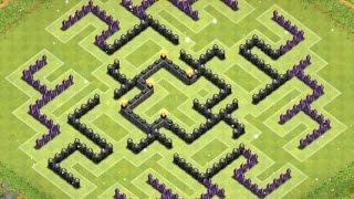 getlinkyoutube.com-Clash of Clans | TH9 Labyrinth Farming Base (2015) Clancastle unlureable