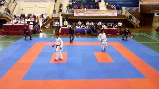 getlinkyoutube.com-Karate POPNAS 2013 Junior Male Team Kumite FINAL DKI VS JATIM Pt.1